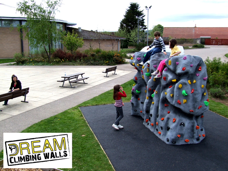 Lhanbryde Primary School Moray. We supply Fibreglass Boulders and school climbing walls