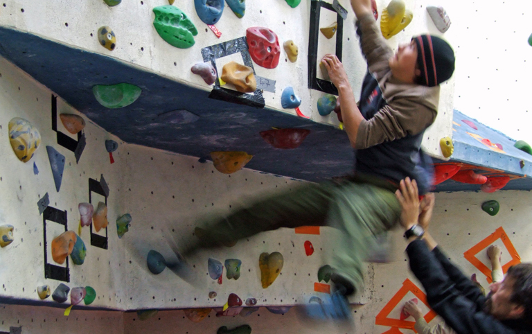 Scott Grosdanoff Falling off Bouldering Wall