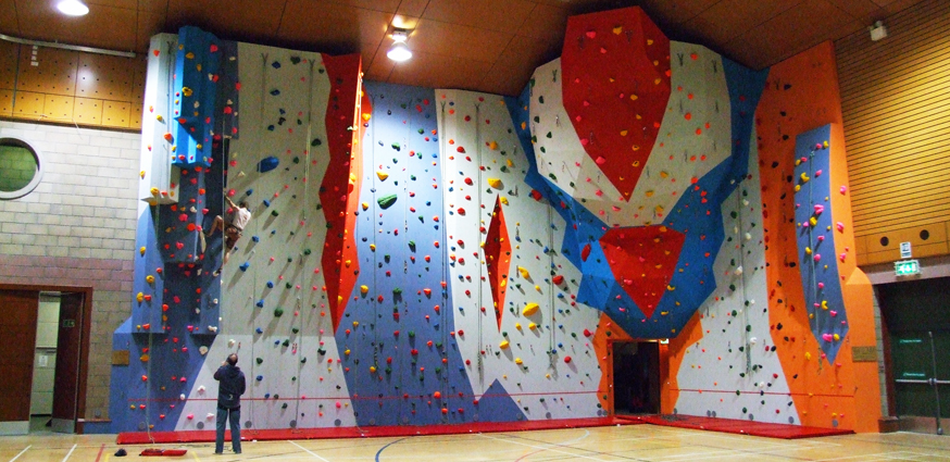 Main climbing wall at Orkney Pickaquoy Leisure Centre