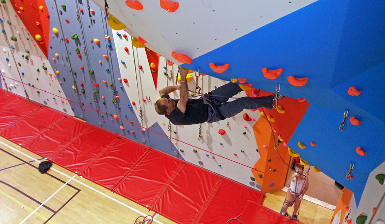 Mark on the Main Climbing Wall at Orkney Kirkwall Pickaquoy Centre Climbing Wall 1