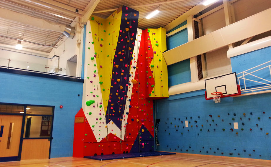 School climbing wall at Featherstone