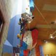 Alasdair Johnstone on the columns at Orkney Pickaquoy indoor climbing wall